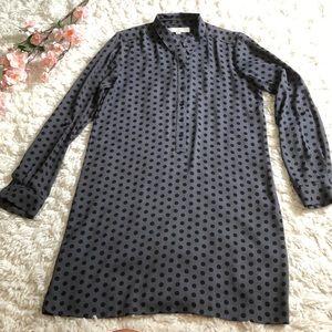 Loft long sleeve polka dot shirt dress